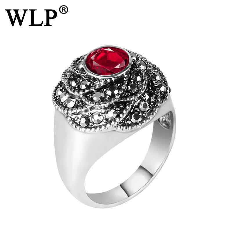 WLP 2018 Womens Ring Vintage Antique Red Green Resin in Gold Tone Stainless Steel Dragonscale couple Rings party gifts Wedding