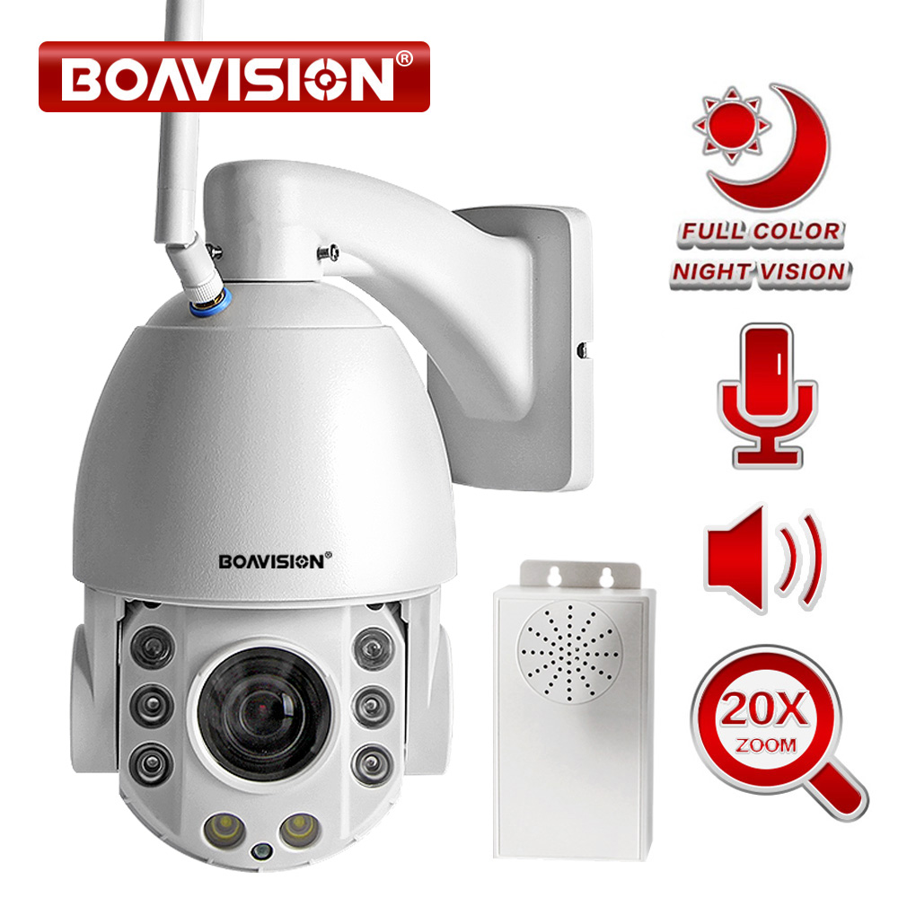 20X Zoom 1080 P Wifi PTZ Macchina Fotografica del IP Esterna 2 Way Audio Impermeabile IP66 Pieno di Colore di Visione Notturna di Sicurezza CCTV fotocamera Android IOS