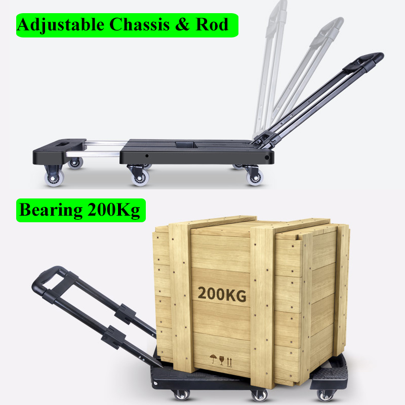 Portable Metal PP Folding Luggage Trolley Cart for Car Travel Accessory Luggage Shipping Trailer Adjustable Handle Chassis Lahore
