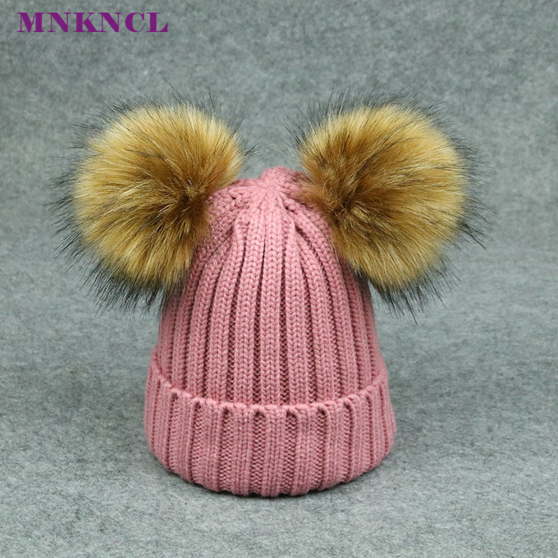2017 New Kids Fur Hat Wool Knitted Winter Caps Beanies For Baby Boys Girls Children's Warm Pompom Hat Bonnet new star spring cotton baby hat for 6 months 2 years with fluffy raccoon fox fur pom poms touca kids caps for boys and girls