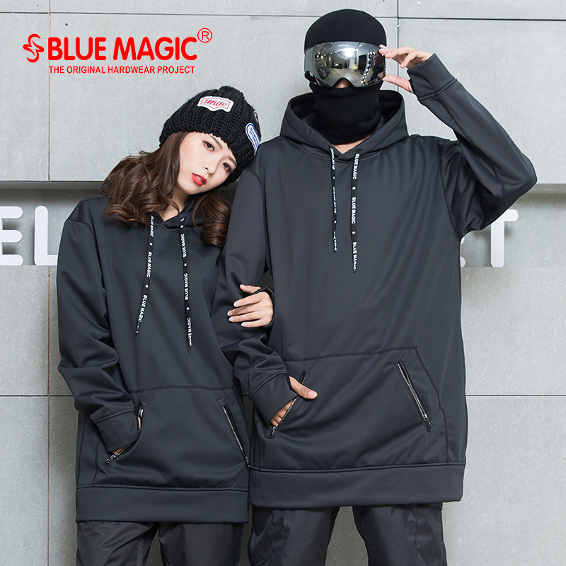 bluemagic snowboard Soft shell combined fabric long hoodie women men waterproof sweatshirts Wind proof skiing suits