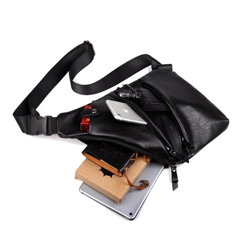 Fashion Chest bag Crossbody bag men shoulder bags handbag Pu Leather multi-functional Casual Designer Gun bagsTravel phone bag pu leather metal multi zips handbag