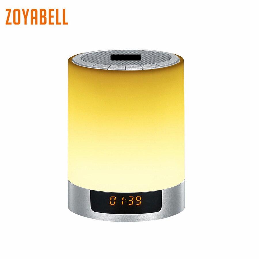 zoyabell Led Night Light Table Lamp Clock Music Speaker TF Card Bluetooth Battery Portable Baby Kids Bedroom Sleeping Light цена