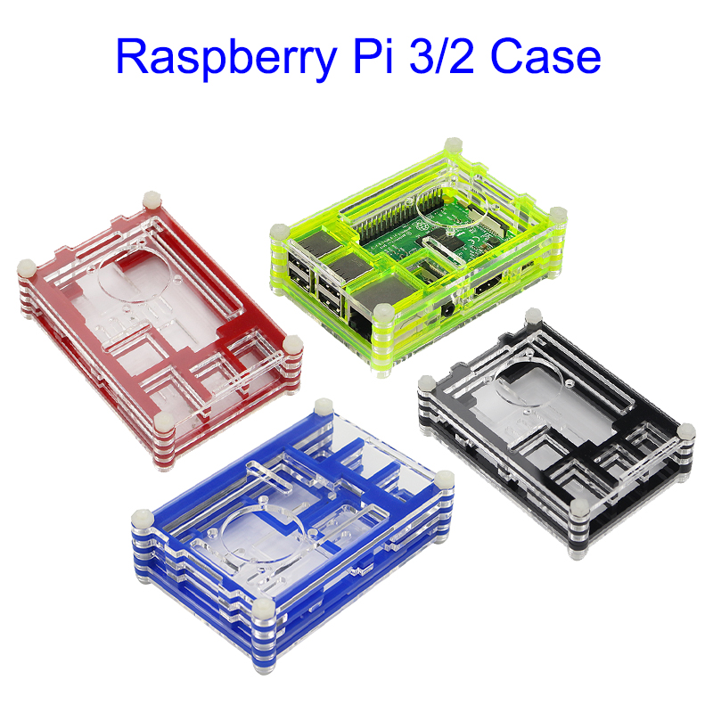 9-layers Raspberry Pi 3 Acrylic Case Black/Blue/Red/Green 4 Colors Box Shell Case with Fan Hole for Raspberry Pi 3 Model B/2 protective abs shell case box for raspberry pi b black