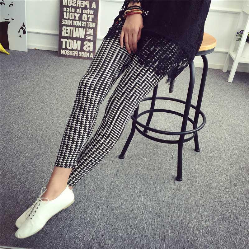 BIVIGAOS Spring Summer Womens Fashion Black Milk Thin Stretch leggings Colored Stars Graffiti Slim Skinny Leggings Pants Female 72