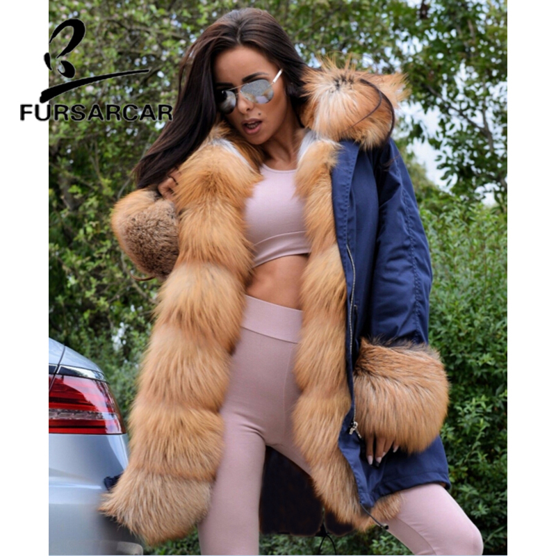 FURSARCAR Luxury Real Fur Coat Parka Women With Big Gold Fox Fur Trim Hood And Cuff Winter Thick Warm Fur Parka High Quality in Real Fur from Women 39 s Clothing
