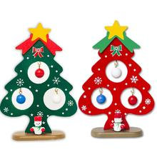 Mini Painted Christmas Tree Decorations Small Ornament Wooden Card New Years For The House