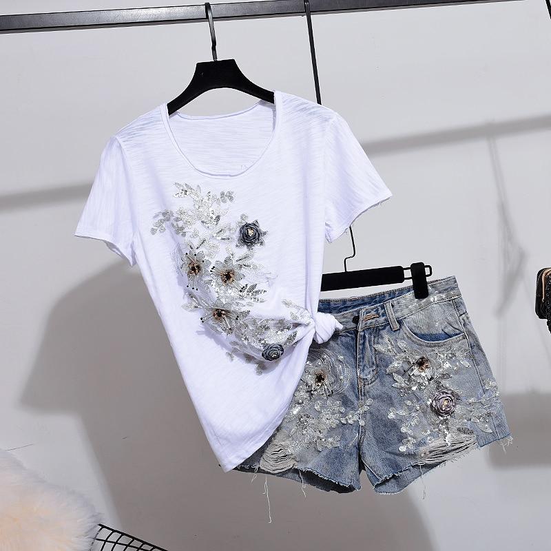 Denim Shorts Pants Suits Diamond Beading 3D Flower Cotton Tshirt Tops Short Jeans Set Summer 2