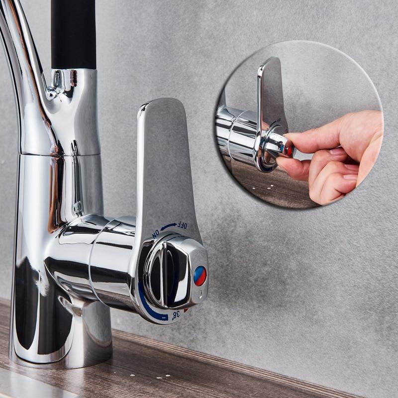 Thermostat Küche Wasserhahn Pull Down Sprayer 360 Rotation Bad Küche Mixer Messing Schwarz Gummi Heißen und Kalten Wasserhähne