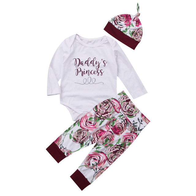 ed6a6701b14 2018 Emmababy Newborn Baby Girls Letter Princess Tops Romper Floral Pants  Leggings Hat Outfits Set Clothes 3PCS