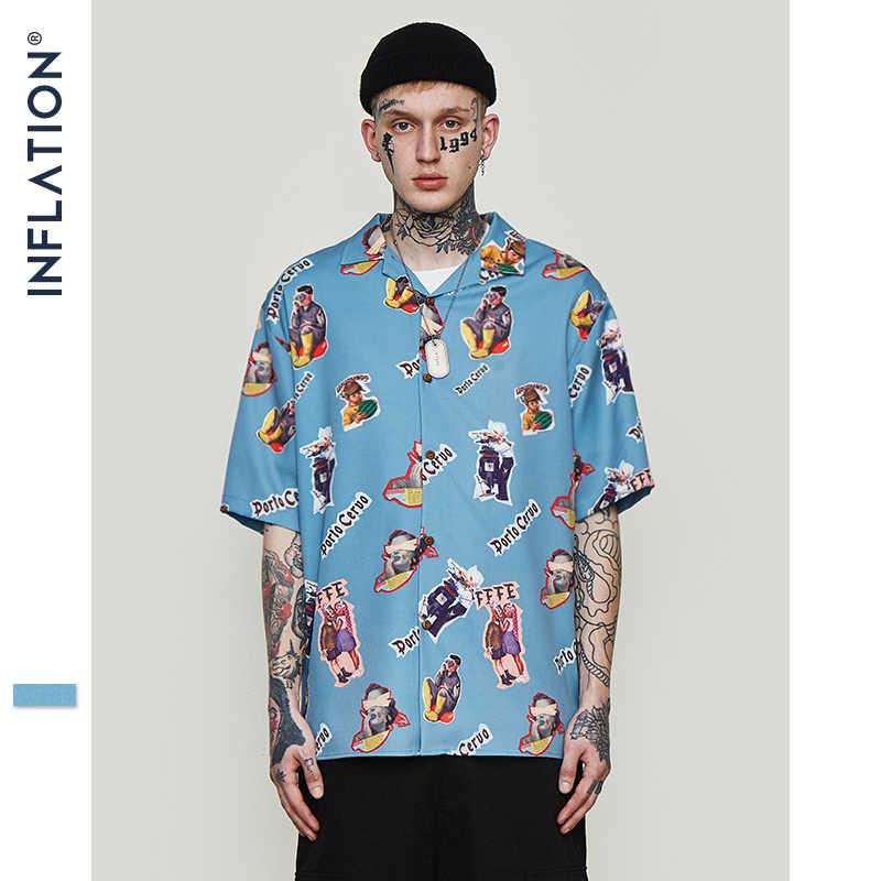 インフレはアロハシャツメンズ男性カジュアルおかしい印刷ビーチシャツ半袖夏 2019 ルーズフィット男性服 9220 S