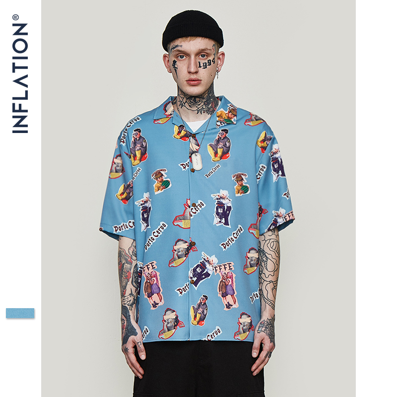 INFLATION Mens Hawaiian Shirt Male Casual Funny Printed Beach Shirts Short Sleeve Summer 2019 Loose Fit Men Clothing 9220S