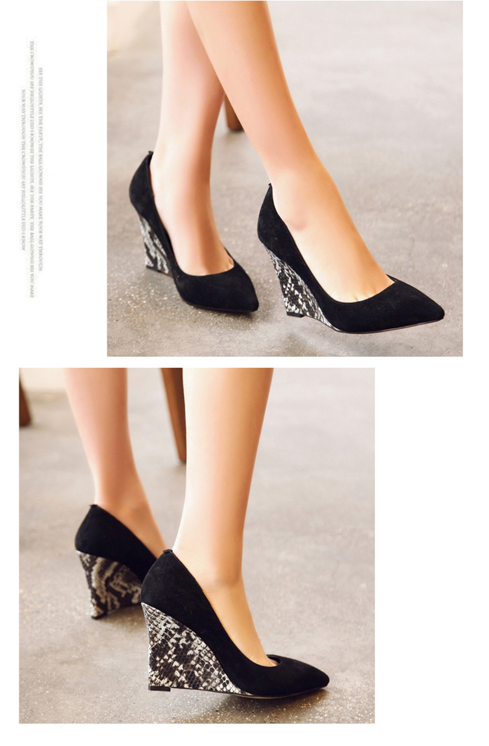 db97044362fc Sheepskin Shoes Women Pointed Toe Novelty Small Size Snake 4 34 Snakeskin  Genuine Leather Suede Wedge High Heels Pumps 2017