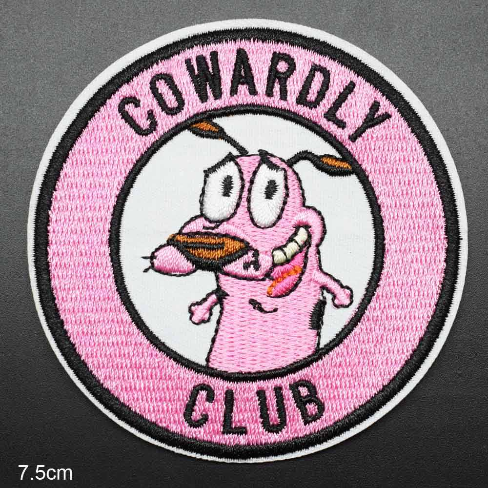 Pink Courage The COWARDLY CLUB Dog Embroidery Clothes Patch For Clothing Iron On Patch Punk Motif Applique Accessory