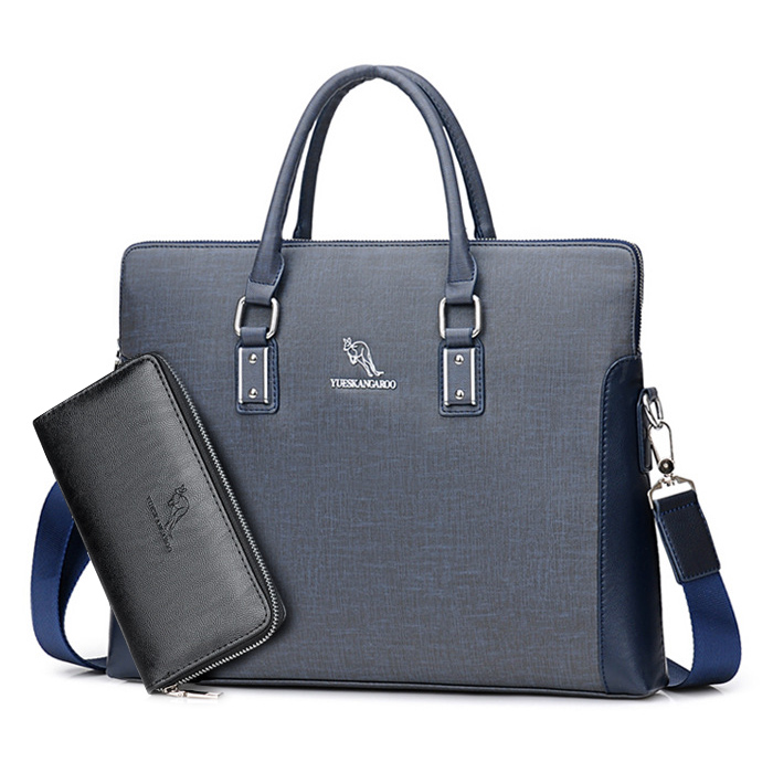 YUES KANGAROO Brand Factory Sale High Quality Leather Men Briefcase 14 inch  Leather Men Handbag For Laptop Classic Business Bag-in Top-Handle Bags from  ... 35cd6b606fa45