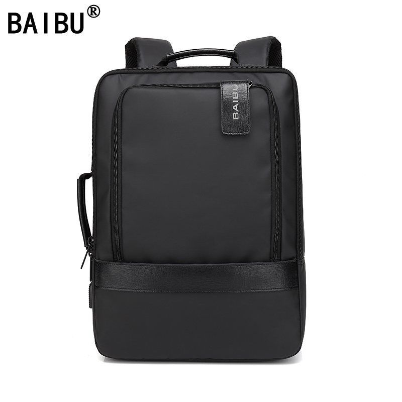 BAIBU Men Backpack Waterproof Letters USB Charging School Bags For Teenagers Student Travel 15.6 Inches Laptop Backpack Women baibu men backpack anti theft waterproof usb charging laptop backpack student women school bags for teenagers travel bag