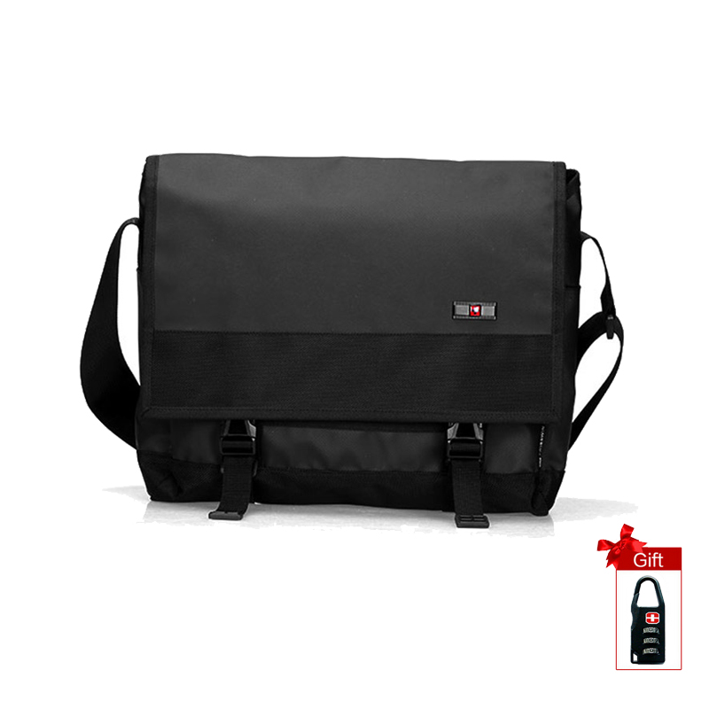 Swisswin Laptop Messenger Bag Men Waterproof Satchel Bag School Military Crossbody Shoulder Bag Black Computer SW9403 swisswin fashion brand men shoulder bag small black messenger daily phone bag quality waterproof nylon flap zipper crossbody bag