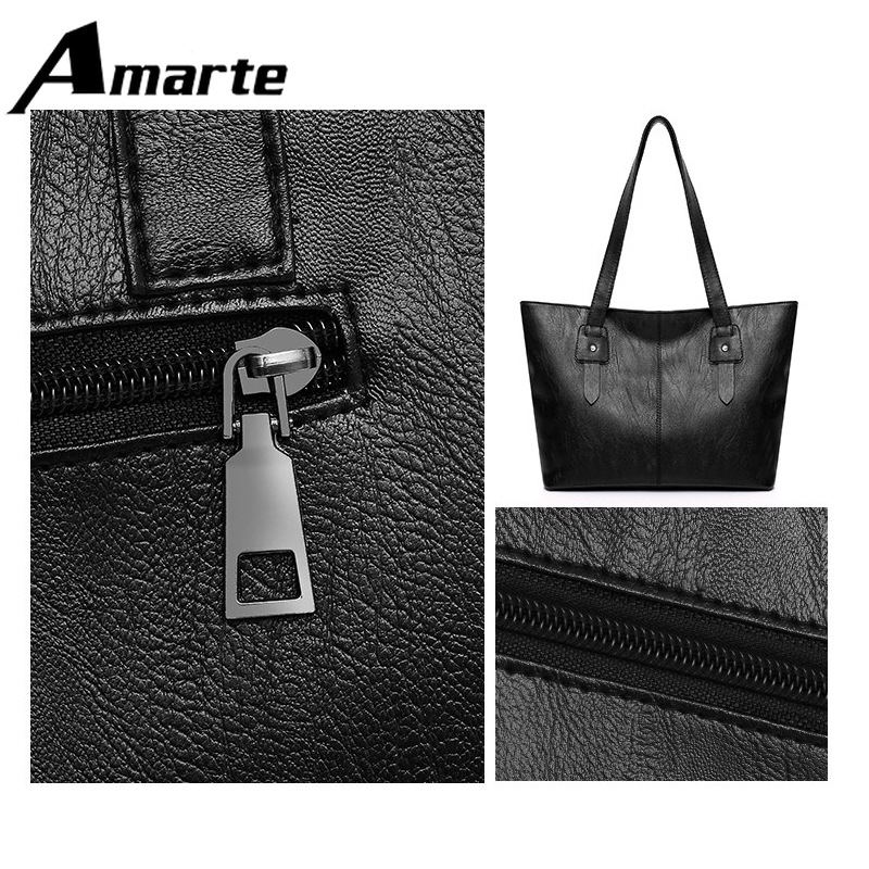 Amarte Women Tote Bag New Fashion Solid Simple Versatile Shoulder Handbags Business Casual Travel Shopping Soft Surface PU Bags in Top Handle Bags from Luggage Bags