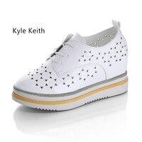 Kyle Keith Brand Cutouts Lace White Leather Shoes Hollow Floral Print Breathable Platform Women Fashion Shoes