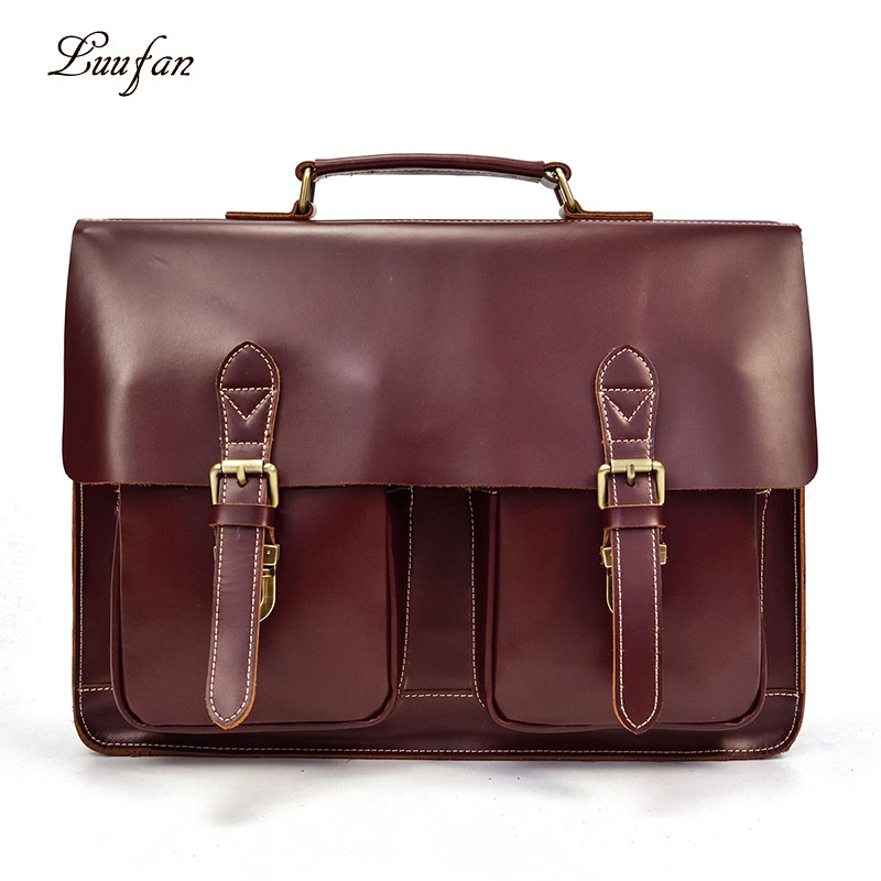 Genuine Leather Briefcase Man Bag 15 Inch Laptop Business Handbag Real Leather Male Shoulder Bag Thick Cow Leather Document Tote