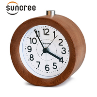 Suncree Circular Snooze Sweep Movement Mute Alarm Clock Modern Needle Wooden Table Alarm Clocks Electronic Desk Watch