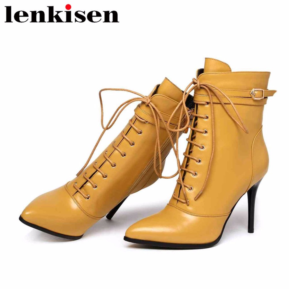 Lenkisen pop british style solid pointed toe zip natural leather plus size super high heels women autumn winter ankle boots L78Lenkisen pop british style solid pointed toe zip natural leather plus size super high heels women autumn winter ankle boots L78