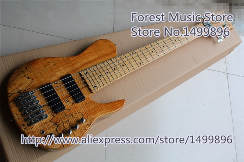 Nouvelle arrivée naturel fini grain de bois fodera basse électrique guitars 6 chaîne élargi cordier pour vente
