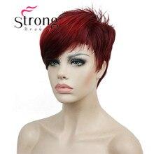 Strongbeauty 짧은 사이드 뱅 레드 비대칭 스트레이트 가발 전체 합성 가발 색상 선택