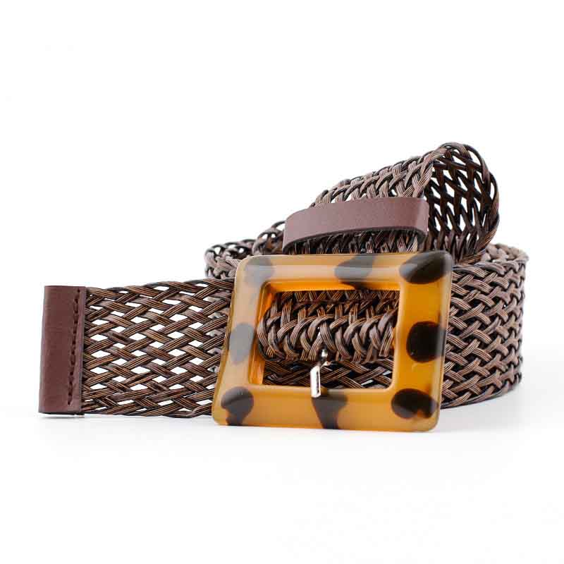 New Pu Woven Wide Belt Ladies Fashion Wild Spot Leopard Yellow Buckle Decorative Belt