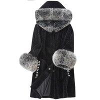Для женщин пальто из натурального меха, оторочка из овечьей шерсти пальто с капюшоном на зиму в овец кожаная куртка Лисий Меховой Воротник Ш