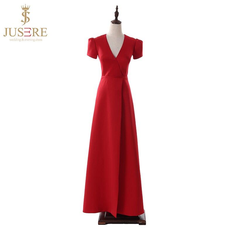 Evening-Dress Short-Sleeves Photos Elegant Simple Real V-Neck Straight Red Jusere Reception
