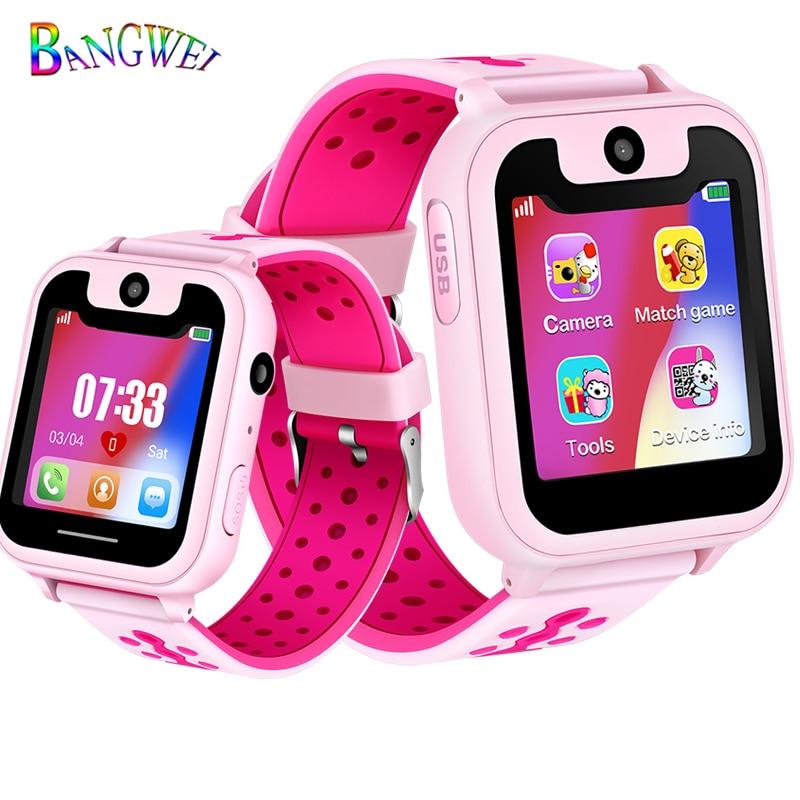 2019 BANGWEI Children Smart Watch Baby Watch LBS Position Tracker SOS Emergency Phone Call Girl Boy Watch Support SIM Card+Box