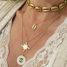 Vintage Gold Star Shell Pendant Necklace For Women Lucky Evil Eye Multilayer Choker Necklace Clavicle Chain Statement Jewelry fashion multilayer jewelry vintage statement pendant necklace for women 2019 vintage moon star pendant necklace jewelry cross