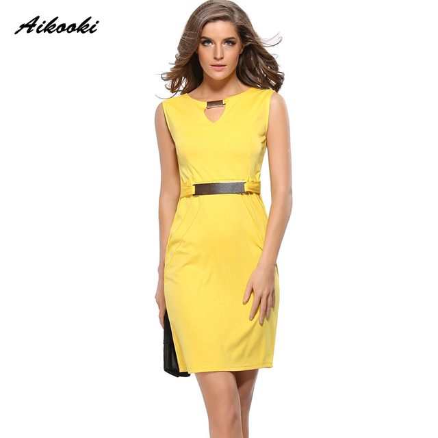 2ed7230d1a586 US $13.51 48% OFF|Aikooki 2018 Spring Summer Women Fashion Office Dress V  neck Business Casual Slim Working Pencil Dress Sheath Bandage Bodycon-in ...