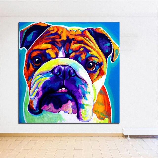 Grosse Grosse Druckolgemalde English Bulldog Wandmalerei Dekoratives