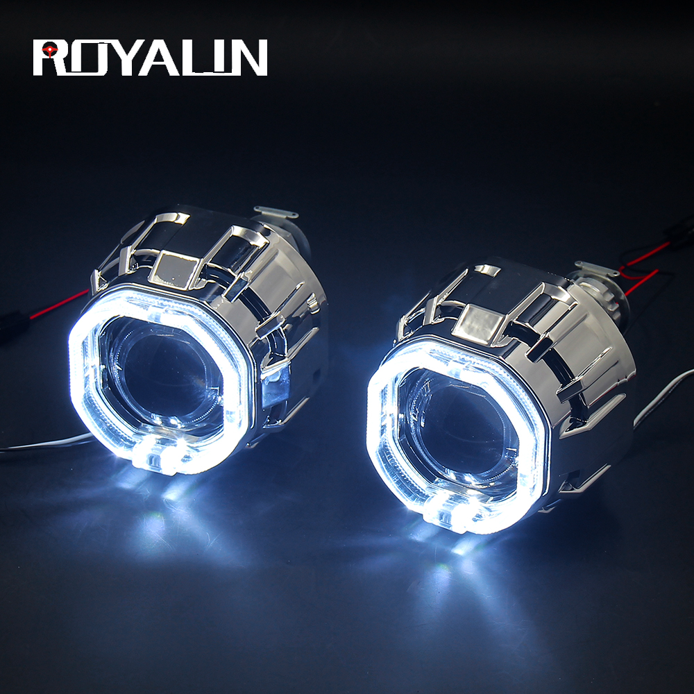 ROYALIN DRL LED Angel Devil Eyes H1 Bi Xenon Projector Lens For H4 H7 Auto Headlights Square Mini Gatling Gun Shrouds Retrofit