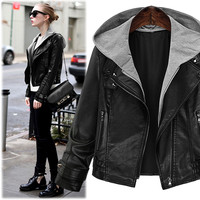 Plus Size XL 5XL Bust 98 122CM Autumn PU Black Short Designer Jacket Hood Motorcycle Leather