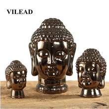 VILEAD 17.5cm 23cm Ceramic Buddha Head Figurines Modern Minimalist Nordic Living Room TV Cabinet Decorations Ornament Craft Gift(China)