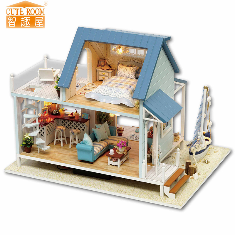 Meubels DIY Poppenhuis Wodden Miniatura Poppenhuizen Meubels Kit DIY Puzzel Monteren Poppenhuis Speelgoed Voor Kinderen cadeau A037