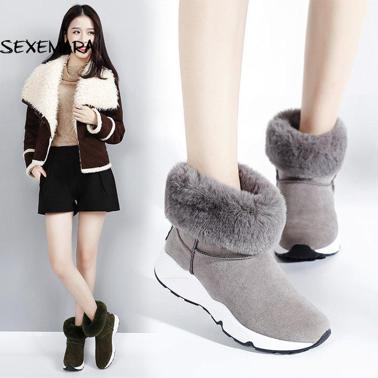 Hot Sale Shoes Women Suede Boots Solid Slip-on Soft Cute Women Snow Boots Round Toe Increased Winter Fur Ankle Boots Shoes Grils cute women winter snow boots slip on soft fur warm shoes candy color ankle boots woman round toe solid flat biker boots