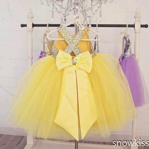 Image 2 - Floor length yellow tulle flower girl dress golden sequin top ball gown tutu open back baby toddler pageant birthday party dress