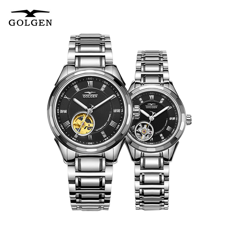 GOLGEN Couple Automatic Watches Men Women Skeleton Mechanical Watch Strap 50M Waterproof Wristwatch