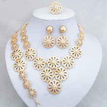 New Fashion Luxury Flower African Gold Color Jewelry Set Wedding Bridal DUBAI Gold Color Jewelry Sets