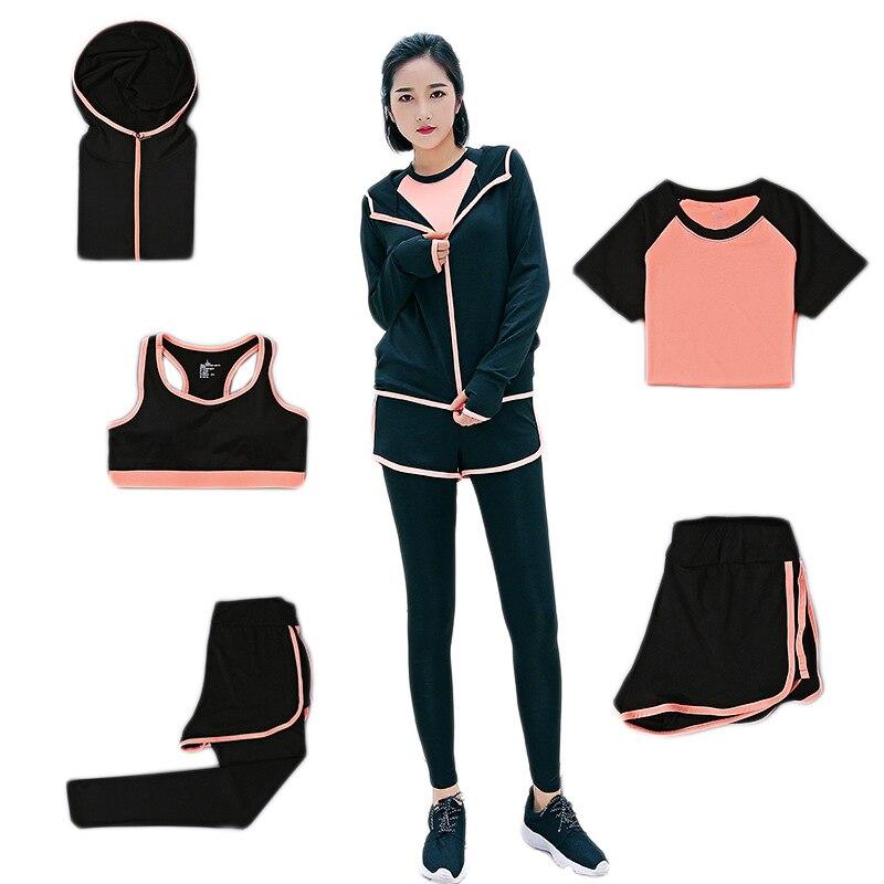 Femmes 2019 automne mince mince Yoga ensemble Gym course 5 pièces ensemble Fitness course Jogging costume filles Sport ensemble course costume Yoga ensemble