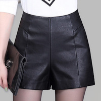 Women Winter PU Leather Sexy Shorts 2016 New Autumn Wide Leg Flare Loose Hign Waist Shorts
