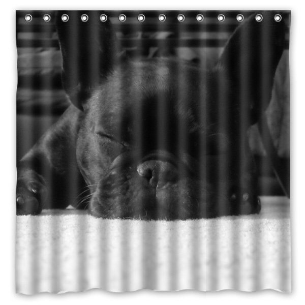 180x180cm new arrival waterproof fabric french bulldog design bathroom shower curtain polyester bath