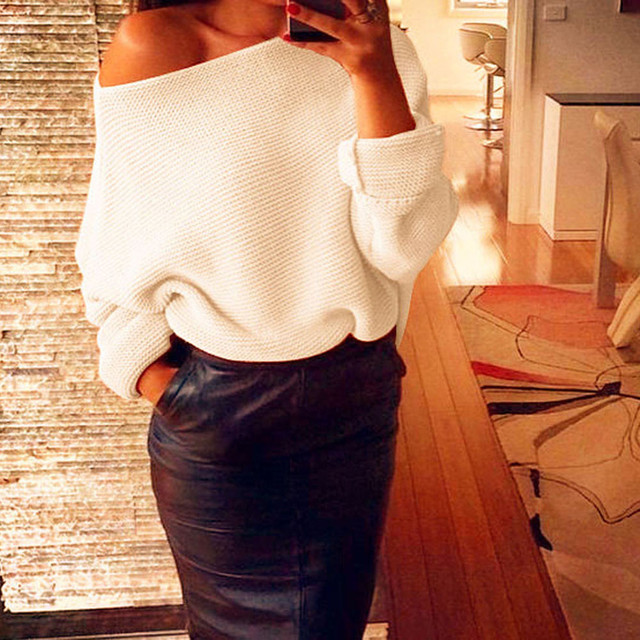 a5c270752991 sweater for women Women s Off Shoulder Chunky Knit Knitted Oversize Baggy  lady s sweaters pullover befree top Jumper blouse F80