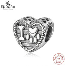 Eudora 100% 925 Sterling Silver Bead Charm Cat Animal Footprints & Bone Charms fit Original Bracelet Necklace DIY Jewelry Z78