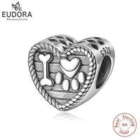 Eudora 100% 925 Sterling Silver Bead Charm Cat Animal Footprints & Bone Charms fit Original Bracelet & Necklace DIY Jewelry Z78