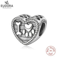Eudora 100% 925 Sterling Silver Bead Charm Cat Animal Footprints & Bone Charms fit Original Bracelet & Necklace DIY Jewelry Z78